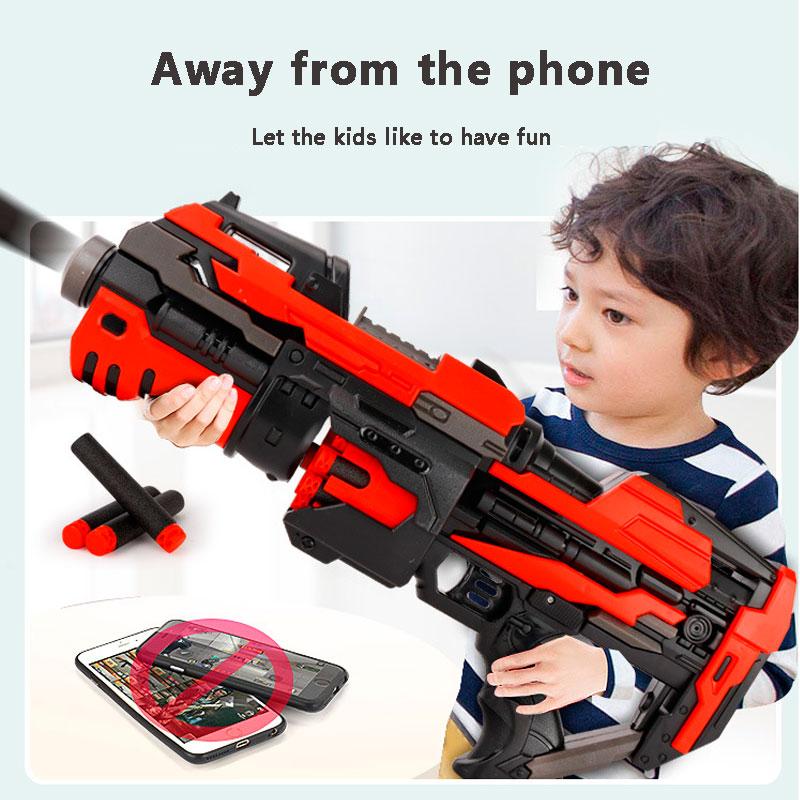 Electric Burst Soft Bullet Toy Gun Plastic Pistol Toy Weapon Boy Home Outdoor Game Equipment Red Black Gun Model
