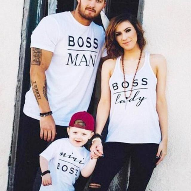 Family look Baby kids Parents Letter printing parent-child T-shirt clothes romper clothes short sleeve tops family costumes