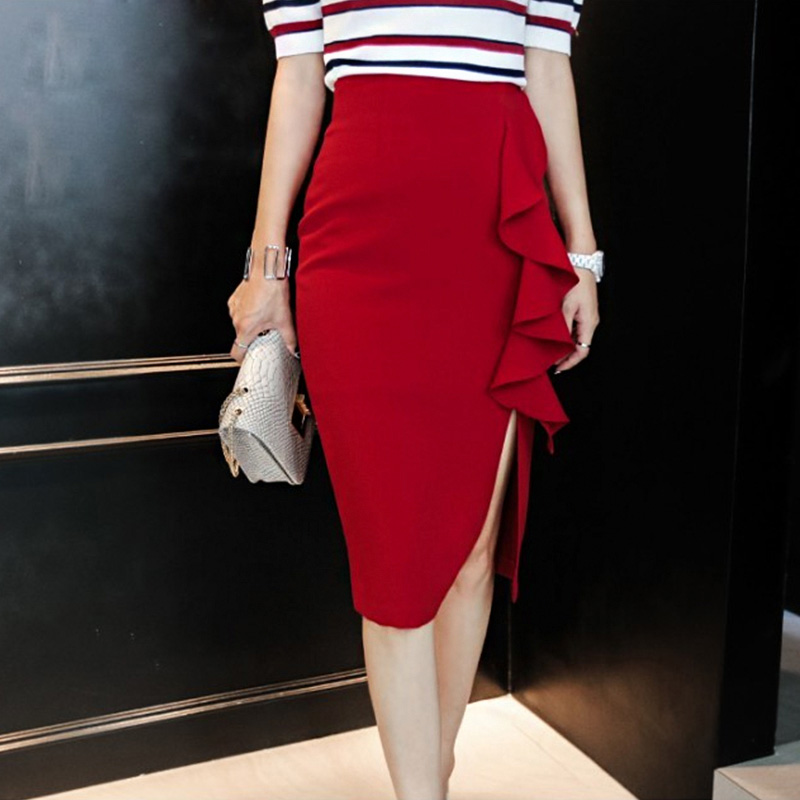 Red High Waisted Pencil Skirt - Skirts