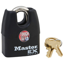 Master Lock Wide Laminated Steel Pin Tumbler Padlock with Shrouded Shackle Anti theft Waterproof Weatherproof cover