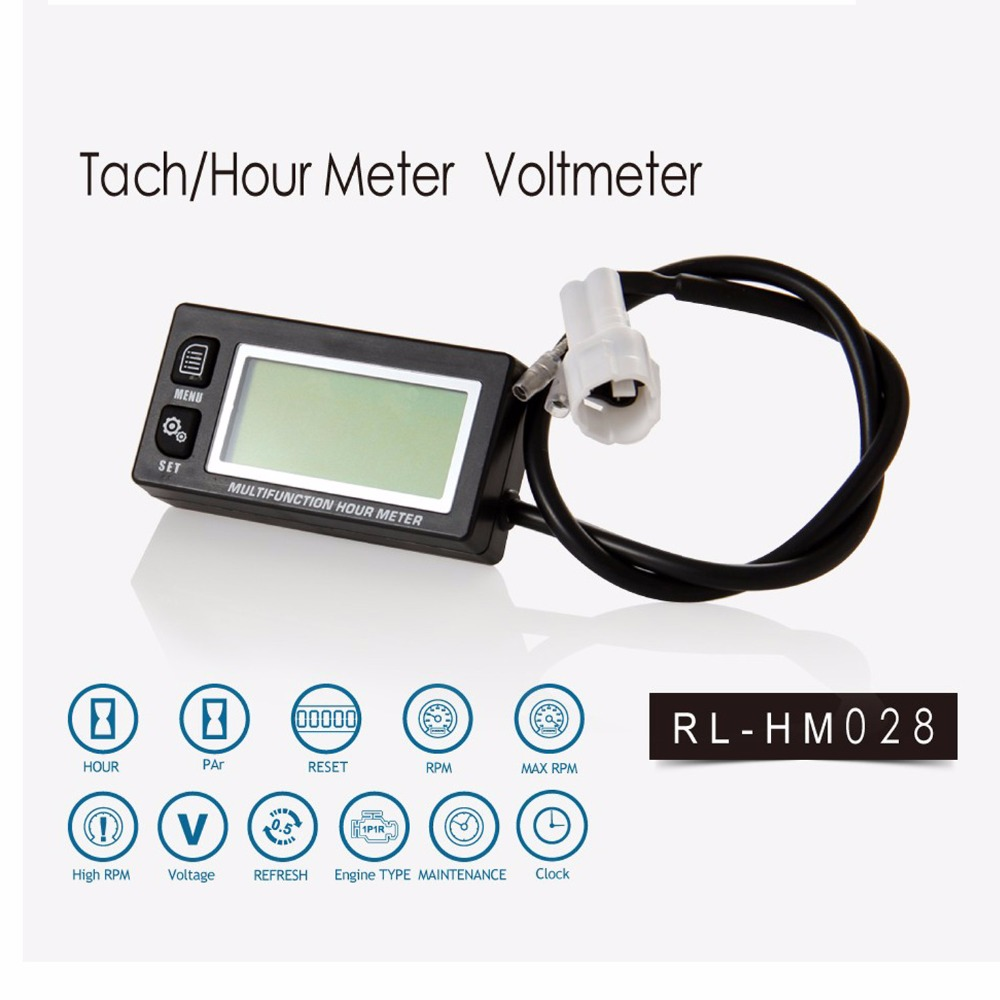 Hour Meter Tachometer gauge LCD Digital Inductive Gasoline Engine Maintenance Reminder Counter Meter Rpm Resettable ATV