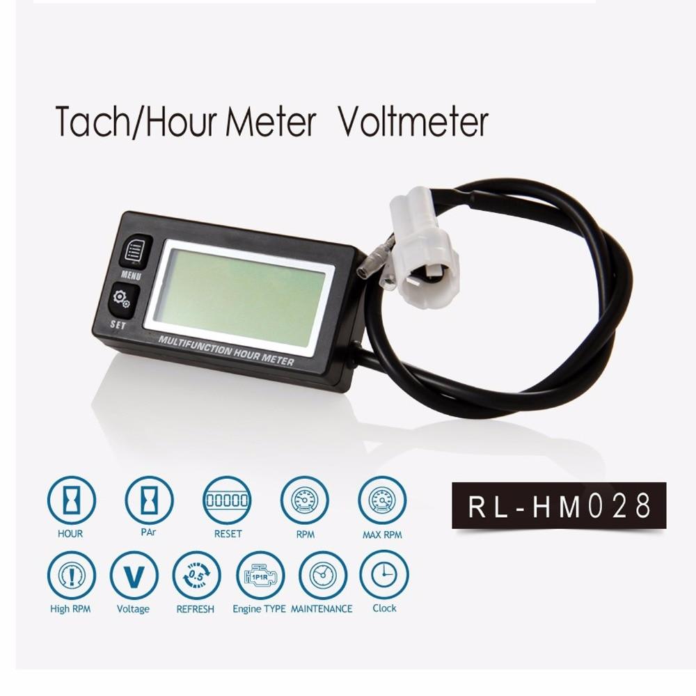 Urenteller Toerentellermeter LCD Digitale inductieve benzinemotor Onderhoud Herinnering Tegenteller Toerental Toerental terugstelbaar ATV