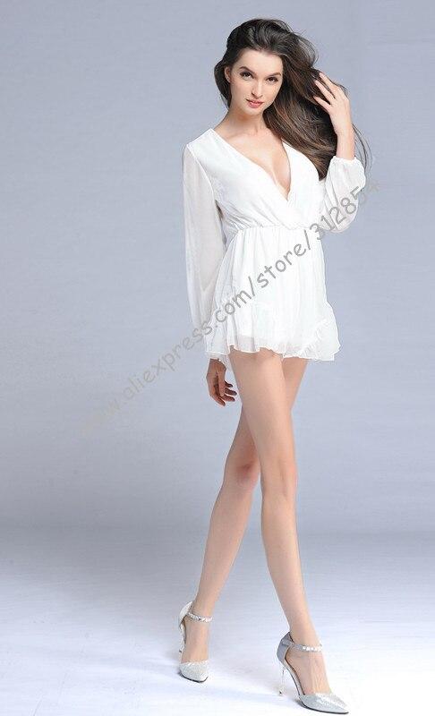 V шеи белый цвет шифон девушки джемперы комбинезоны лето лолита пляжная одежда цельный комбинезон детский комбинезон женские комбинезон Комбинензон джинсовый для женщин комбенизон летний комбинезон женский