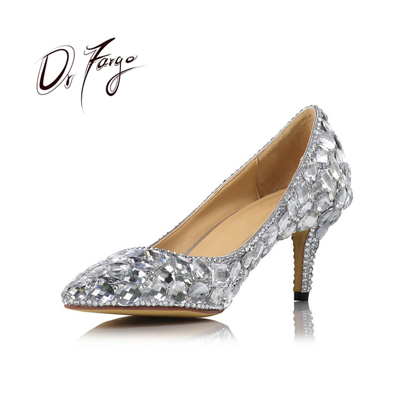 DRFARGO 2019 Wedding Pumps Crystal Shoes Women Pointed Toe 6cm 8cm 10cm Thin High Heel with box Sheepskin sole 20170658 size 41DRFARGO 2019 Wedding Pumps Crystal Shoes Women Pointed Toe 6cm 8cm 10cm Thin High Heel with box Sheepskin sole 20170658 size 41