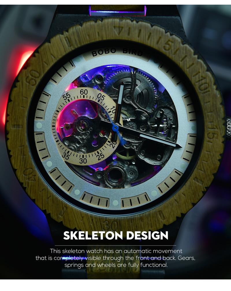 HTB110RlaVY7gK0jSZKzq6yikpXac Relogio Masculino BOBO BIRD Mechanical Watch Men Wood Wristwatch Automatic Customized Gift for Dad