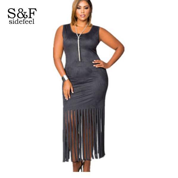 Hot Summer Red/Black Micro Suede Fringe Hem Full figured Dress ...