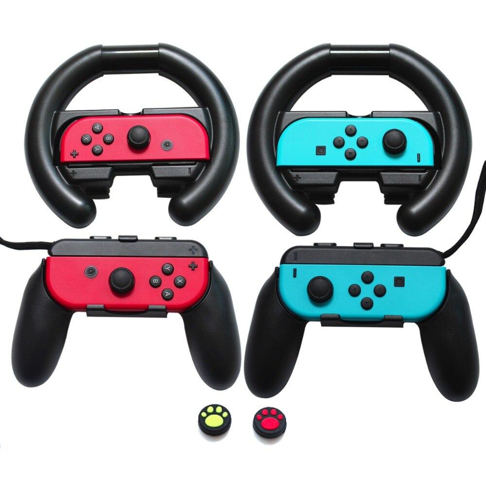 Juegos de accesorios 6 en 1 para Nintendo Switch Joy Con rueda de carreras 2 piezas, empuñadura de pulgar tapa de silicona 2 piezas