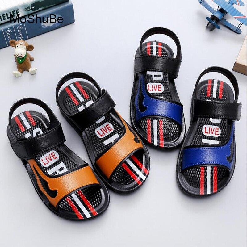 Новая мода Повседневное детские летние сандалии дети песчаный пляж босиком обувь мягкая подошва склеивания пряжкой сандалии для малышей в...