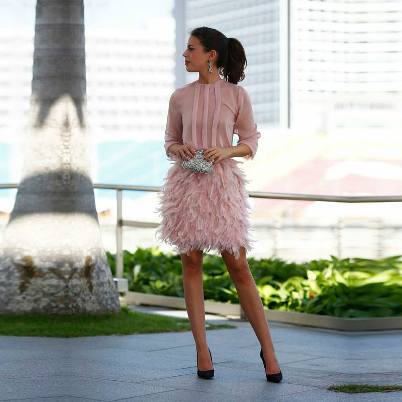 Pink Feather Cocktail Dress Three Quarter Sleeve Unique Cocktail Party Gowns 2016 Robe De Soiree High Neck Chic Short Prom Dress