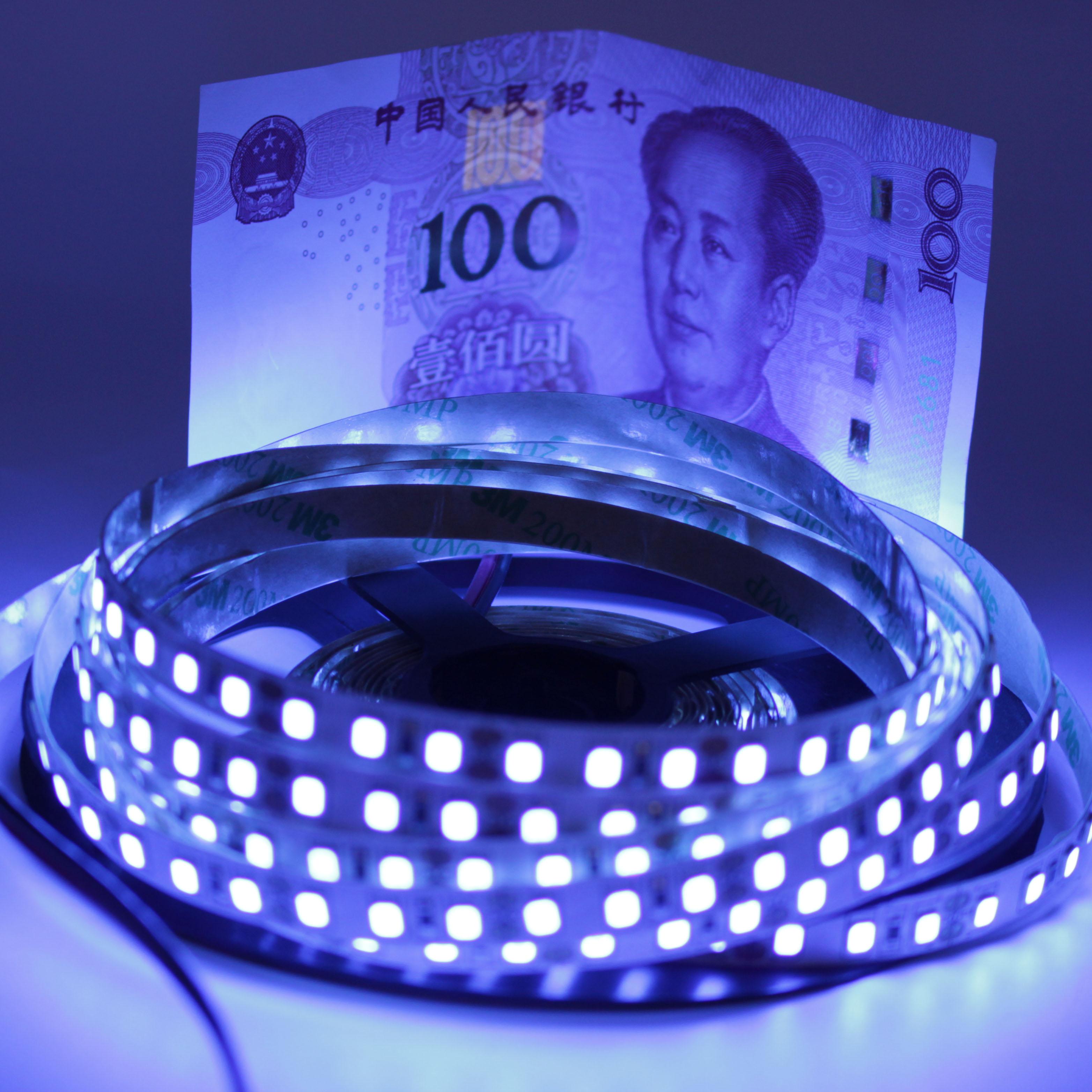 Lâmpada impermeável da fita de 5050 2835 smd 60led/m 120led/m para a festa da fluorescência do dj 12 v uv ultravioleta 395-405nm conduziu a luz preta da tira
