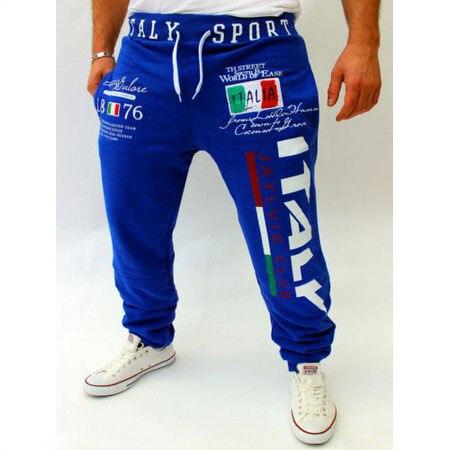 Повседневные штаны с принтом итальянского флага, повседневные штаны большого размера, высокое качество - Цвет: Синий