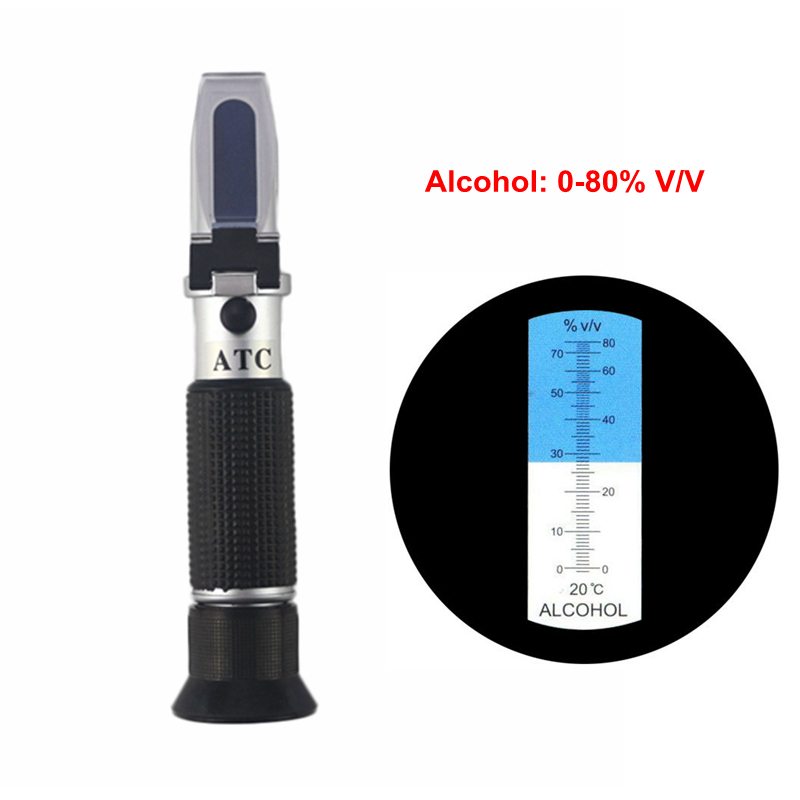 Portable Alcohol Content Tester 0-80% V/V ATC Refractometer Wine Liquor Concentration Meter With Retail Box alcohol refractometer for spirit alcohol volume percent measurement with automatic temperature compensation atc range 0 80%