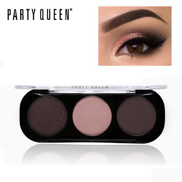 Party Queen 3 Colors Pigment Satin Nude Eyeshadow Palette Shimmer Matte Bronze Eye Shadow Kit Smooth Makeup Smokey Eye Shadow
