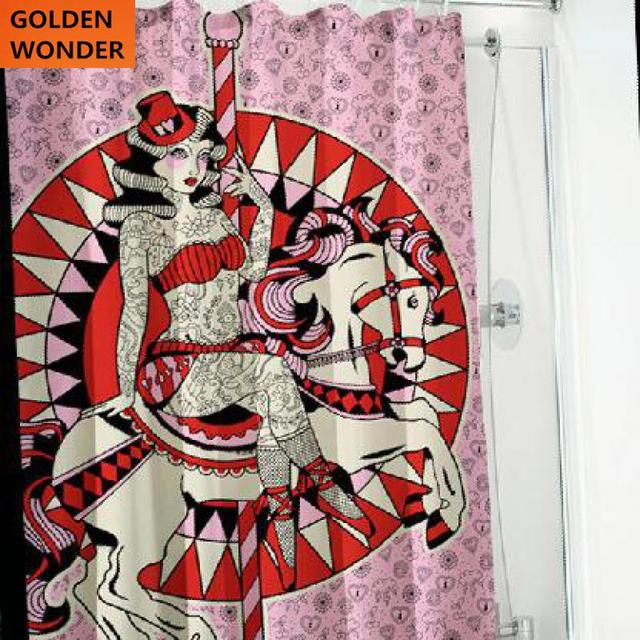 New Arrival Cool Tattoo Punk Polyester Waterproof Thickened Copper Buttonhole Bath Curtain Shower Bathroom Products