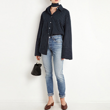 OtherLinks 2017 New Fashion Spring Navy Casual Stripe Women Shirts  Long Sleeve Polo Neck Flare Sleeve Shirt Chemise Femme