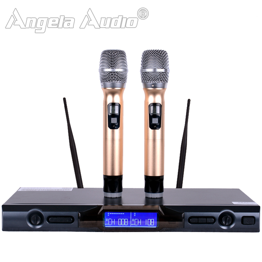 Professional UHF Wireless Microphone Karaoke System Dual Handheld Mic 2 Channels Cordless Mike For Outdoor Party Stage KTV Home general packaging single channel uhf vocal wireless microphone professional for ktv karaoke stage dj singing microphone pgx4