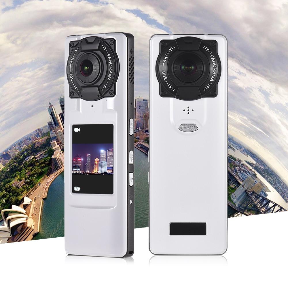 Caméra vidéo 360 degrés 4 K Ultra HD WiFi VR caméra panoramique portable avec double objectif écran LCD 2.0 pouces