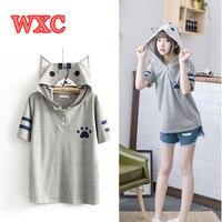 Harajuku Anime Neko Atsume Hooded T Shirt Mori Girls Cute Cat With Ears Printing Shirts Kawaii