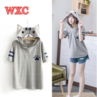 Harajuku Anime Neko Atsume Hooded T Shirt Mori Girls Cute Cat With Ears Printing Shirts Kawaii
