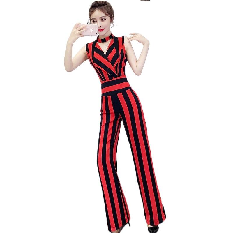 Combinaisons pour dames mode 2019 été nouveau tempérament v-cou sans manches taille haute était mince rayé large jambe femmes combishort