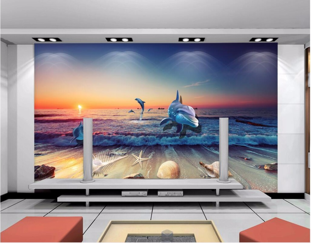 Custom photo 3d wallpaper The dream seaworld dolphin fish landscape home decor on a wall 3d wall murals wallpaper for bedroom custom 3d ceiling photo wave dolphin 3d ceiling murals wallpaper home decor wallpaper on the ceiling papel de parede