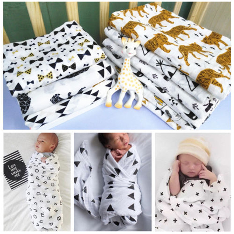 Muslin Baby Swaddle Blanket Baby Swaddle Newborn Baby Bath Towel Swaddle Blankets Multi Designs Functions Baby Wrap 120*120cm