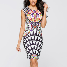 Tropical floral New Sheath Robe Summer Geometric Bodycon Dress Womens Sexy Plus Size Party Dresses Women Clothing Vestidos 2249