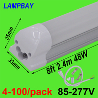 4 100/pack 8ft 2.4m T8 Integrated Bulb Fixture 40W 48W LED Tube Light with fittings Surface Mounted Bar Lamp Linear Lights