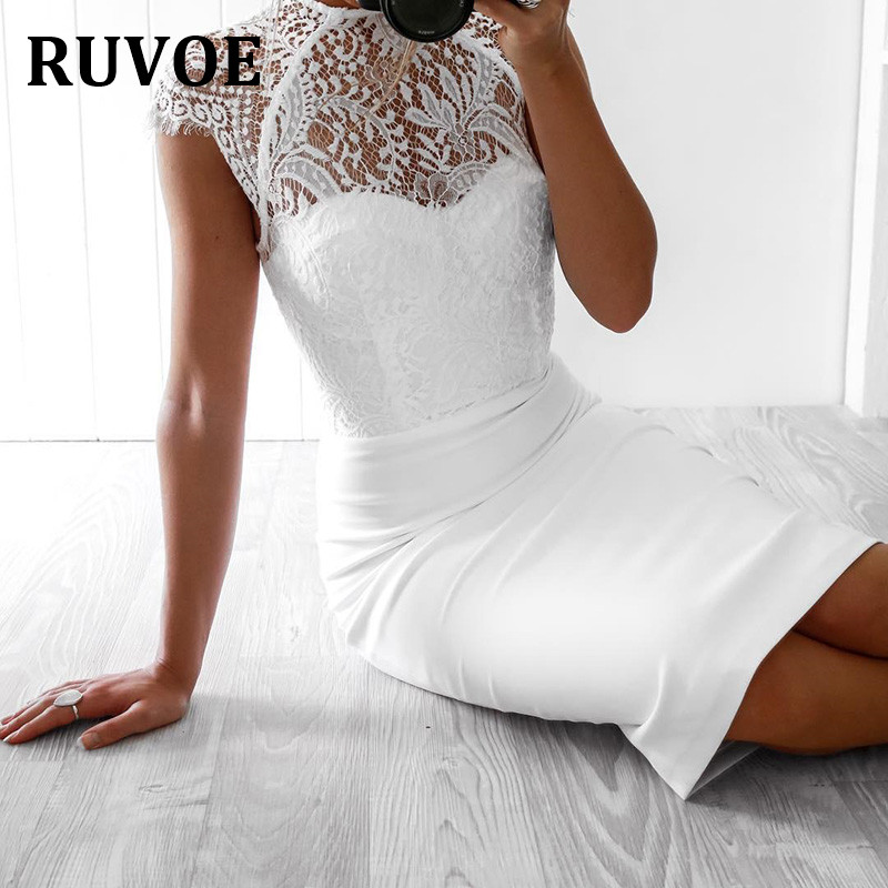 New Arrial Women Summer Sexy O Neck Lace Black White Bandage Dress 2018 Knitted Elastic Designer bridesmaid party dress Q-11 ruby rox new black lace bandage dress l $59 dbfl