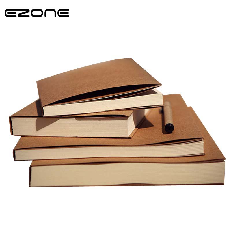 EZONE Creative Notebook Planner Brown/Beige Paper Blank Pages Sketch Note Book Scrapbook Travel Diary School Office Supplies