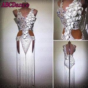 Image 1 - ラテンダンスのドレスの女性ホワイトセクシーなロングフリンジドレス社交ダンスサルサドレス