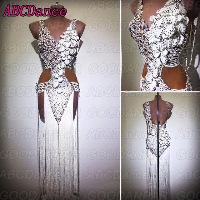 ラテンダンスのドレスの女性ホワイトセクシーなロングフリンジドレス社交ダンスサルサドレス