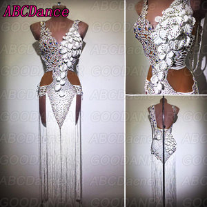 Image 1 - Vestido de baile latino para mujer, Sexy, blanco, flecos largos, para salón de baile, salsa