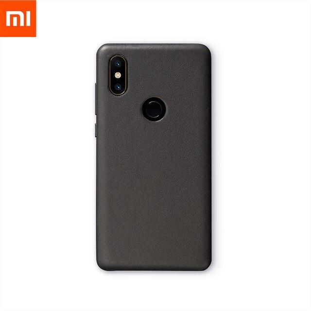 Original Xiaomi Mi Mix 2กรณีของแท้หนังPC Mi Mix 2SสำหรับXiaomi Mix 2Sกรณีคุณภาพสูงสีดำ