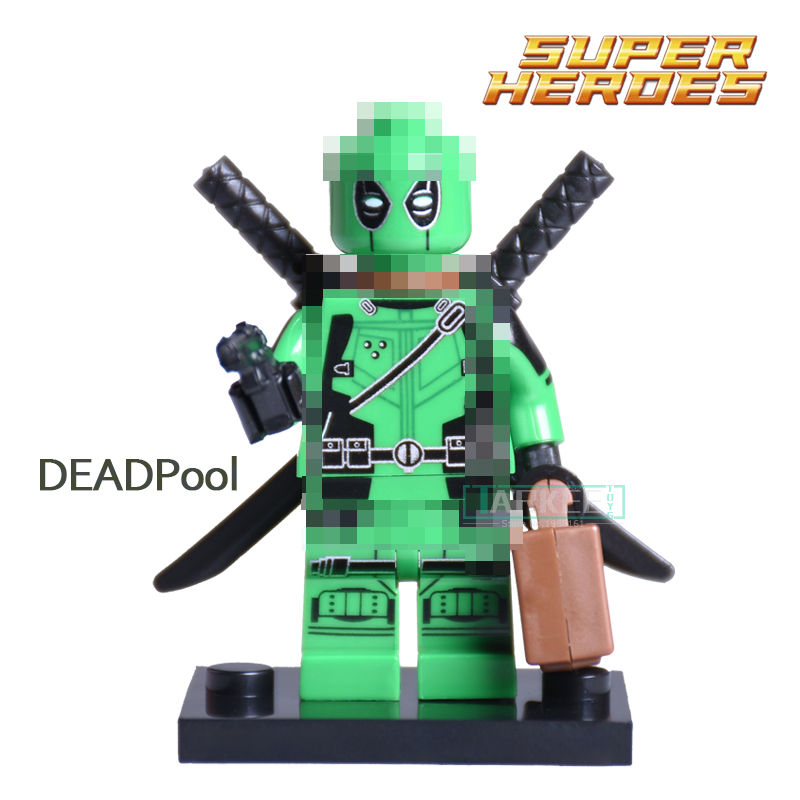 Custom Green Deadpool with Weapons Suitcase diy figures Single Sale Marvel Superhero Wolverine X-man Building Blocks Kids Toys