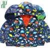 Kids jacket Cartoon Dinosaur Print jacket for boys toddler Girls Outwear Jacket children Hooded Windproof Raincoat windbreaker