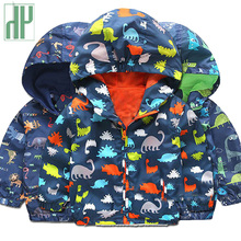 Kids jacket Cartoon Dinosaur Print jacket for boys toddler Girls Outwear Jacket children Hooded Windproof Raincoat windbreaker недорого