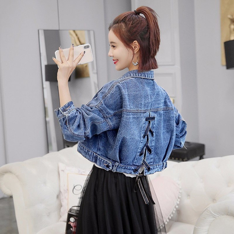 2019 autumn cropped denim jacket Streetwear short jackets Batwing sleeve jeans jacket women loose chaqueta mujer veste femme