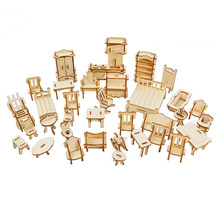1SET 34PCS  BOHS Wooden Doll House Dollhouse Furnitures Jigsaw Puzzle Scale