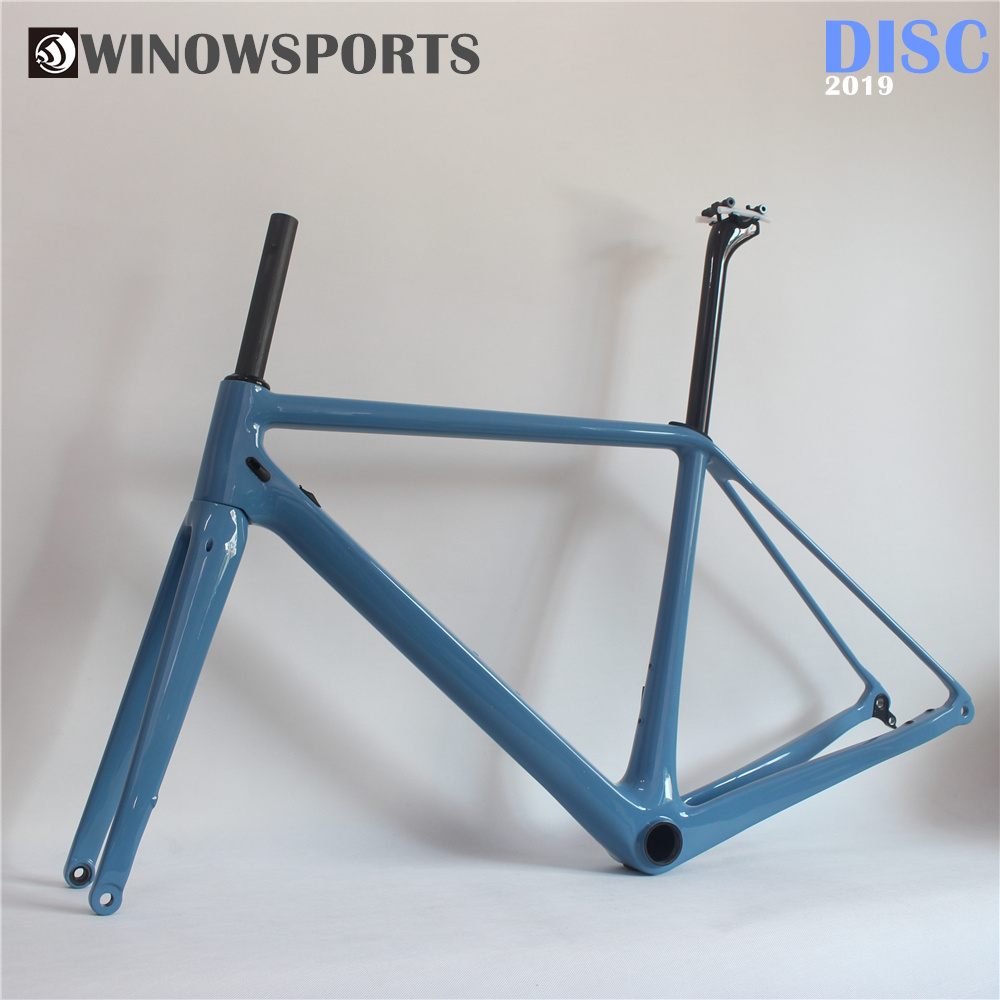 Winowsports New Monocoque High Moudule Carbon Road Disc Brake Frame 700c Bicycle Disc Climp Racing Frames FM219 Thru Alxe Wheel