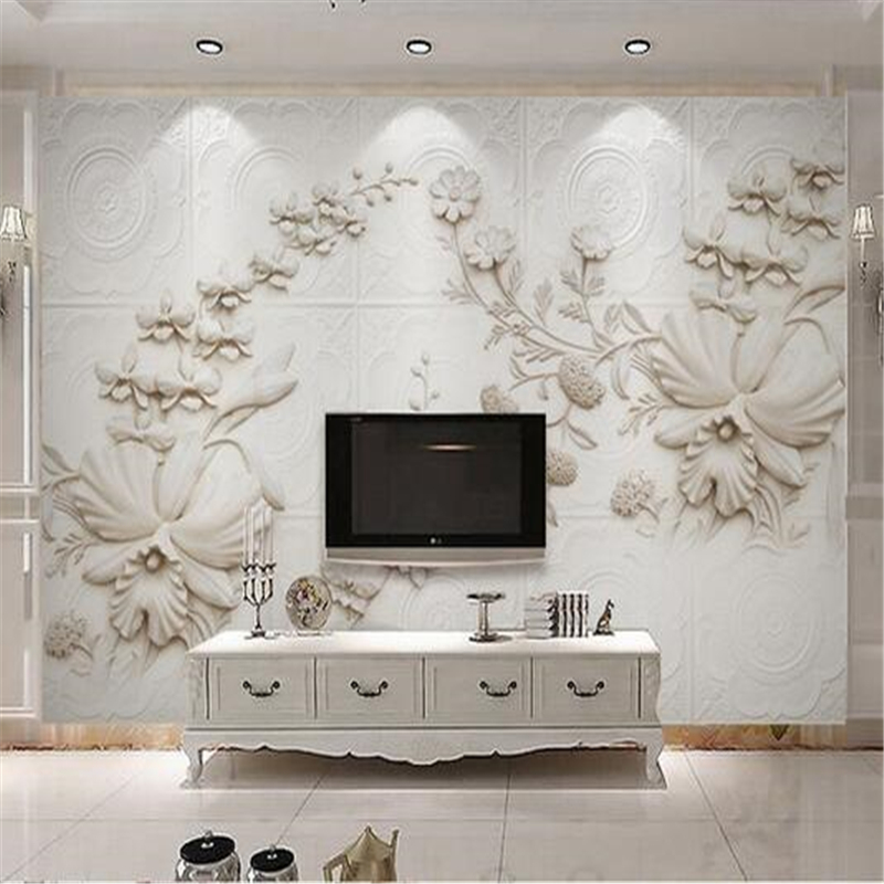 Beibehang Papel De Parede Custom Wallpaper Wall Stickers Large Fresco 3D Stereo Rice White European Stone Orchid TV Backdrop