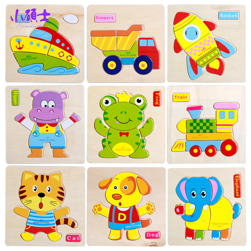 Montessori Metod Animal Wooden Jigsaw Puzzle Tecknad Tangram Djur Baby Toy Barn Tidig Educational Toy Jigsaw Board