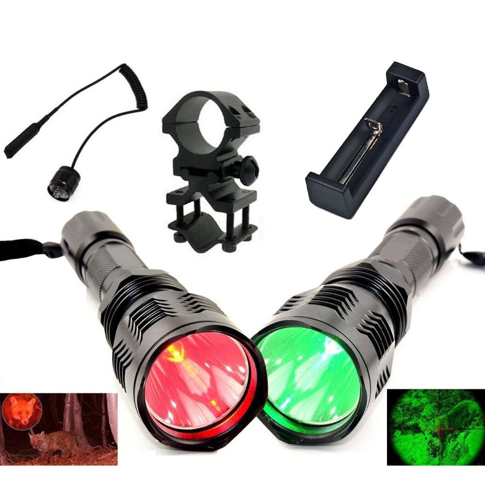 UniqueFire HS-802 300LM Flashlight 1 Mode Red/Green Light 250 Yard Long Range Torch+Remote Pressure Switch+Barrel Mount+Charger