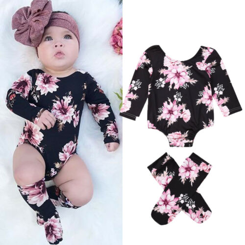 3PCS Newborn Baby Girl Flower Romper Jumpsuit+Leg Warmers Outfits Clothes Set