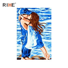 RIHE Kissing Boy And Girl Oil Painting By Numbers Beach Cuadros Decoracion Acrylic Paint On Canvas For Artwork Modern Home Decor