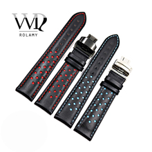 Rolamy 20mm 22mm Real Cowhide Leather Handmade Black Red Blue Replacement Wrist Watch Band Strap Double Push Clasp