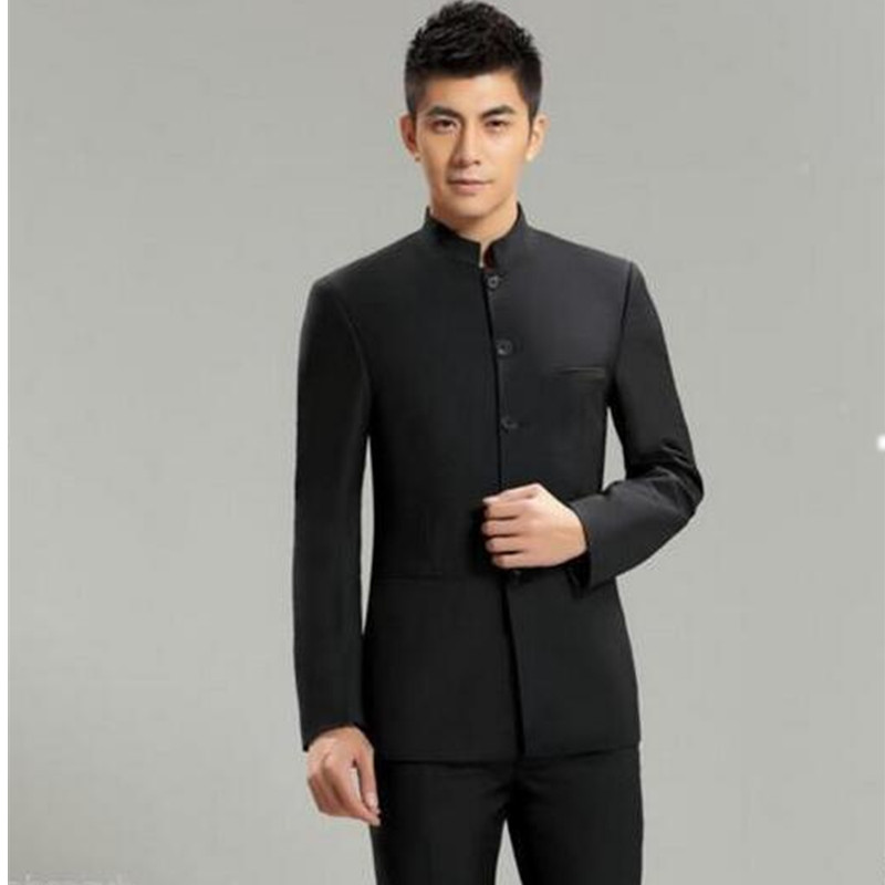 (Jacket + Pants ) men business suits trousers Chinese tunic suit black new arrival Men Wedding Suit
