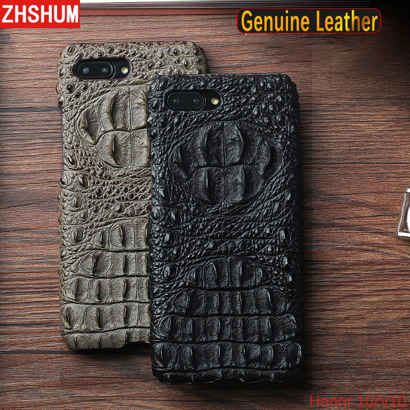 Luxury Genuine Leather Case For Huawei Honor 10 View Crocodile Pattern Skin Handmade Case 360 Full