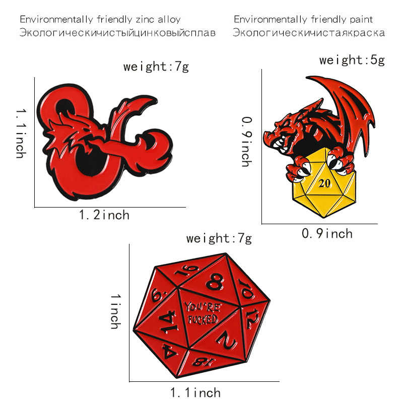 ドラゴンとダンジョンゲームピンレッドドラゴンゲームロゴラペルピンバッジポリゴンレッドゴールドサイコロエナメルブローチシャツバッグジュエリー