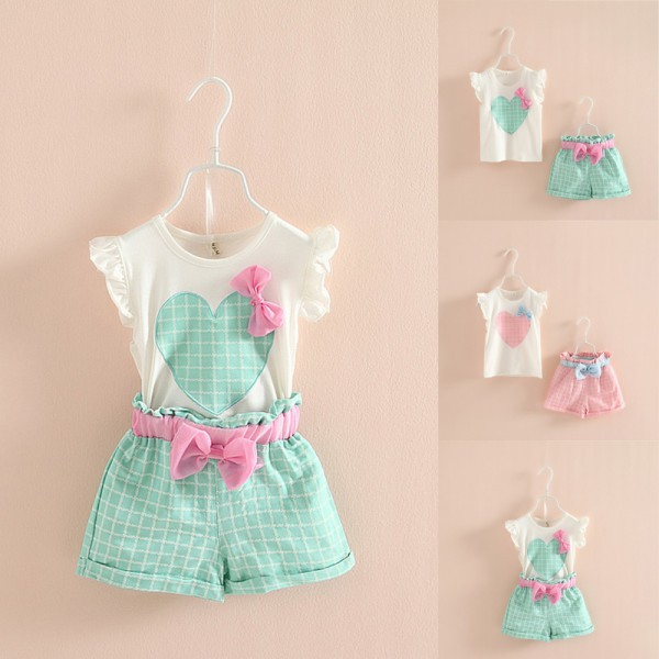 Wholesale Baby Kids Girls Sleeveless Heart Bow Tops T Shirt+Plaid Short Pants Outfits 2-7Y блузка cuseberry